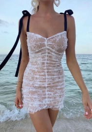 Women Fashion Tie Lace Ruffle Mini Dress