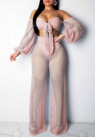 Women Sexy Knitting Hollow Flare Long Sleeve Tube Tops and Loose Long Pants 2 Piece Suit