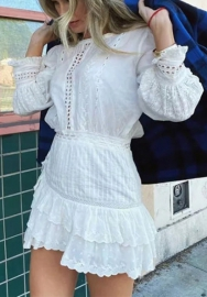 Women Fashion Lace White Ruffle Long Sleeve Hem Mini Dress