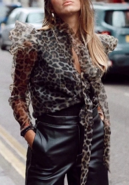 Women Fashion Leopard Long Sleeve Tops