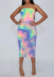 Women Fashion Tie-Dyed Fabric Colorful Summer Mini Dress