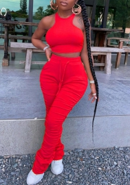 2020 Styles Women Fashion Solid Color  Crop Tops and Ruffle Long Pants 2 Piece Suit