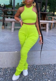 Women Fashion Solid Color  Crop Tops and Ruffle Long Pants 2 Piece Suit