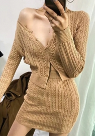 2020 Styles Women Fashion INS Styles Fashion Long Sleeve Sweater Two Piece Dress