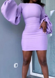 2020 Styles Women Fashion INS Styles Fashion Puff Long Sleeve Mini Dress
