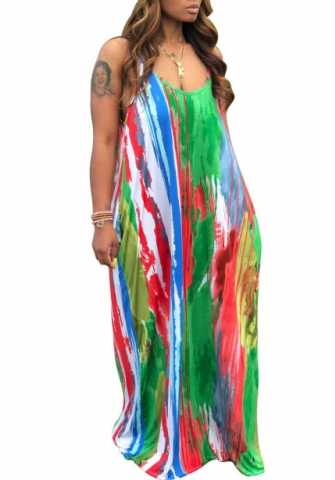 Women Fashion 3D-Print Digital Strap Loose Maxi Dress